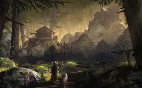 Picture forest, stones, stage, settlement, Forest Village