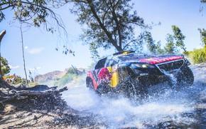 Wallpaper Race, Red Bull, Peugeot 2008 DKR, Speed, Peugeot, Sport, Rally, Sport, The front, Rally, DKR, ...