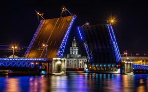 Picture night, bridge, lights, Saint Petersburg, Saint Petersburg