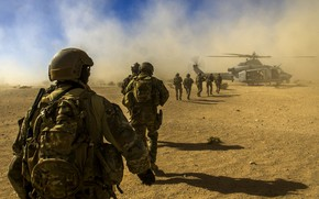 Picture desert, dust, helicopter, soldiers, Stroy