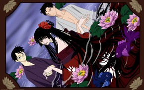 Picture girl, fish, flowers, anime, guys, water lilies, xxxHolic, Triplecalc