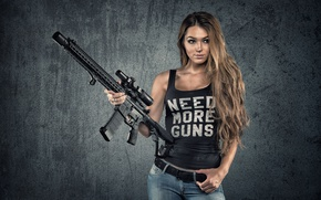 Picture girl, face, weapons, background, hair, jeans, figure, machine, beauty