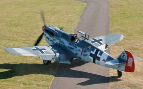 Picture the airfield, Hispano, Buchon, HA.1112-M1L