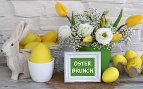 Picture flowers, holiday, eggs, Easter, eggs, bunny, decoration