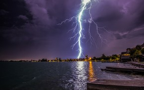 Wallpaper bad weather, the sky, night, lake, the storm, lights, shore, trees, home, piers, Zugerberg, zipper, ...