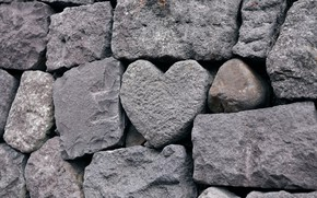 Picture stones, wall, heart