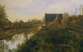 Wallpaper landscape, Pieter Gerardus van OS, oil, Channel at the Village, canvas, picture