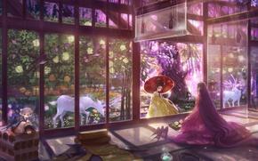 Picture girls, umbrella, garden, kimono, deer, flowering, long hair, veranda, scrolls, swallows