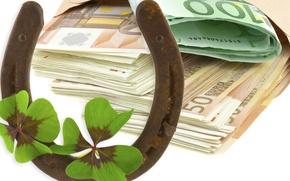 Picture money, clover, Euro, horseshoe
