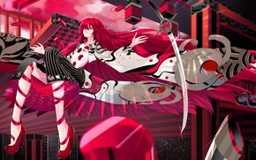 Picture girl, anime, red, House no Kuni