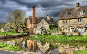 Picture the sky, river, England, HDR, home, District, rivers, houses, England, Cotswold