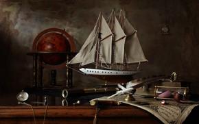 Picture pen, watch, sailboat, tube, still life, globe