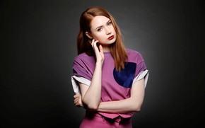 Picture look, girl, sweetheart, actress, red, beautiful, redhead, red lips, Karen Gillan, Karen Gillan