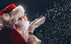 Picture New Year, Christmas, night, snow, merry christmas, santa claus