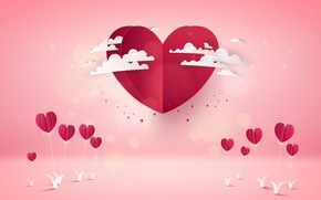 Picture Pink, Hearts, Background, Rendering, Obloka