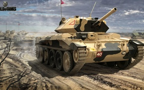 Wallpaper camouflage, British, column, tank, figure, World of Tanks, average, desert, art, Nikita Bolyakov, Crusader Mk.VI
