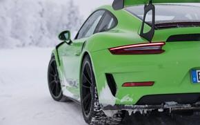 Picture winter, 911, Porsche, supercar, rear view, 2018, GT3 RS