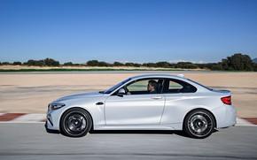 Picture asphalt, movement, coupe, track, BMW, profile, 2018, F87, M2, M2 Competition