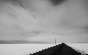 Wallpaper road, field, nature, perspective, snow, winter, power lines