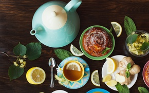 Wallpaper tea, bun, lemon, herbal, grass, Cup, cakes, tea, lemon, cup