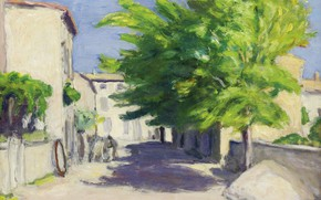 Wallpaper picture, house, Village Street in Provence, Albert Andre, Albert Andre, landscape