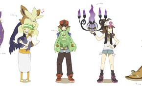 Picture children, anime, art, characters, Pokemon, pokemon