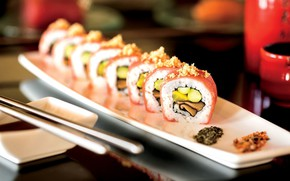 Picture food, fish, kitchen, sauce, sushi, rolls, seafood, Japanese