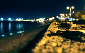 Picture light, night, the city, lights, promenade, bokeh