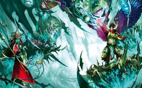 Picture chaos, space marines, demons, Warhammer 40 000, Magnus the Red, sorcerer magic, primarch, Thousand Sons