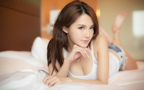 Picture girl, woman, bed, asian