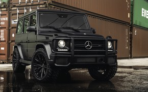 Wallpaper G63 AMG, G-Class, container, Mercedes-Benz, ship container, tires
