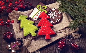 Picture holiday, new year, spruce, cookies, decor, branch berries, treats