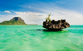 Picture sea, nature, rock, island, Mauritius, Le Morne Brabant