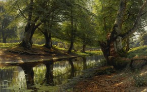 Wallpaper landscape, trees, nature, Peder Mørk Mønsted, Peter Merk Of Menstad, The stream in the Valley. ...
