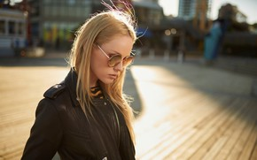 Picture girl, the sun, the city, model, portrait, home, makeup, area, glasses, jacket, hairstyle, blonde, beautiful, …