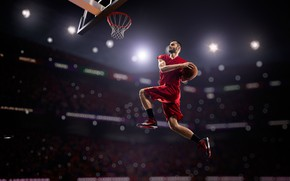 Picture light, lights, jump, basket, shorts, the ball, t-shirt, red, athlete, male, basketball, sneakers, tribune, stadium, …