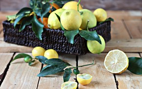 Picture box, citrus, wood, lemons