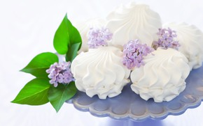 Picture dessert, lilac, marshmallows