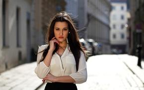 Picture look, girl, street, hair, bokeh