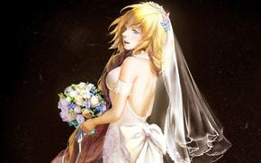 Picture girl, flower, long hair, anime, butterfly, purple eyes, face, blonde, digital art, bouquet, artwork, bride, …
