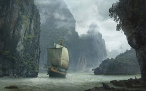 Picture water, rocks, ship, Landscape with ship