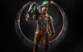 Picture gun, weapon, man, mask, strong, scar, bald, Quake: Champions, Visor