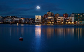Picture the sky, night, lights, river, the moon, building, home, Bui, Stockholm, Sweden, promenade