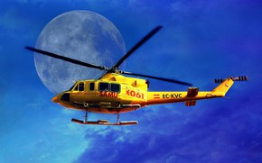 Wallpaper the sky, helicopter, The moon, blades