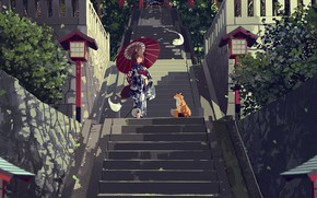 Picture anime, Fox, ladder, girl