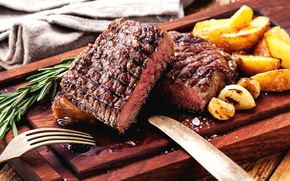 Picture meat, rosemary, potatoes, steak