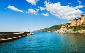 Picture sea, beach, shore, Italy, Italy, travel, Camogli, Liguria, basilica