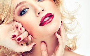 Picture look, girl, smile, model, hands, makeup, hairstyle, blonde, blue eyes, gesture, photoshoot, Sofia Zhuravets'