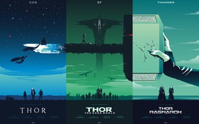 Wallpaper fiction, collage, hammer, poster, art, characters, films, comic, Thor, fan art, MARVEL, trilogy, god of ...