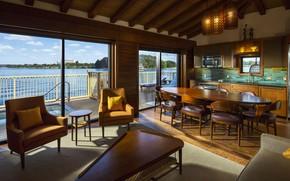 Picture interior, kitchen, dining room, luxury water villa